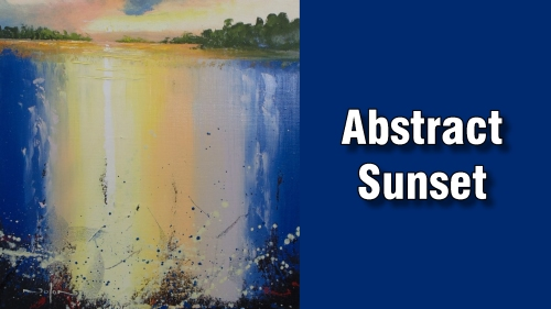 how to paint abstract sunset oil